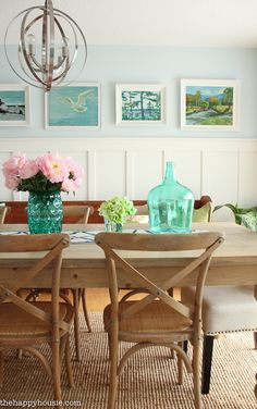 Lake House Summer Tour with beachy coastal colourful entry hall dining room and deck at the happy housie-7