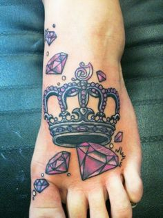 Queen Crown With Diamonds Tattoo On Foot