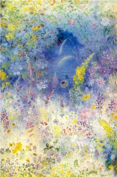Field Flowers (1941) by Ukrainian artist Kateryna Bilokur (1900-61). Now at the Ukrainian Folk Decorative Art Museum.