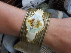 Bretheren    Vintage Religious Cuff Assemblage by HappyMoonDesigns