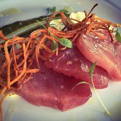 Appetizer Special-Ahi Crudo pistachio pesto grilled Big Island hearts of Palm crispy carrot strings EVO micro greens #ahi #hawaiianfish #sashimi #crudo #pesto #pistachio #heartsofpalm #carrots #microgreens #eatlocal #kapalua #aloha