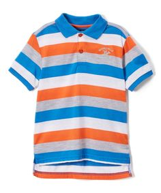 Vibrant Orange Stripe Jersey Polo - Toddler & Boys