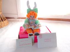 Marie Osmond Carrot Rag A Muffin Doll COA + Doll Necklace Bunny Outfit #MarieOsmond #DollswithClothingAccessories