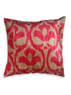 Genuine Velvet-Silk Ikat Patterned Pillow - Gilt Home