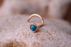 NOSE RING turquoise stone 2mm in 3mm 14K rose gold filled setting. Also Cartilage or Ear Stud handcrafted. $12.95, via Etsy.