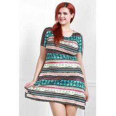 Vintage Colorful Stripe Printed Short Sleeve Loose Dress For Women