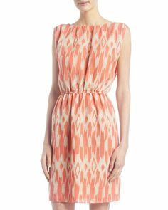 Ikat-Burnout Ruched-Shoulder Dress by MICHAEL Michael Kors at Last Call by Neiman Marcus.