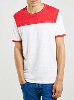 Red Slubby Yoke T-Shirt - Men's T-Shirts & Vests - Clothing - TOPMAN