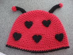 I love the dots being made of hearts on this Lil' Love Bug pattern by Deborah Devlin ~ pattern on Ravelry!