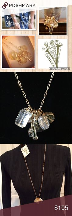 """VERDIER JEWELRY Swarovski Crystal Necklace NWT Dazzling VERDIER JEWELRY Designer Swarovski Crystal Golden Crystal Shadow Beaded Charm Necklace  SOLD OUT! Brand New With Tags Retail Price: $121.00 Plus Tax Seven Different Golden / Clear Swarovski Crystal Charms On A Delicate Gold Tone Chain (Spread Out On Flat Surface In Photo #6 For Detail) Drops Approximately 10.5"""" From Base Of Throat This Beautiful Necklace Goes With Everything! Treat Yourself Or Makes A Great Gift   Guaranteed To Be"""