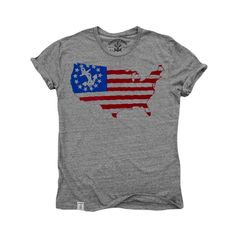 US Map Yacht Ensign: Tri-Blend Short Sleeve T-Shirt in Tri Vintage Grey
