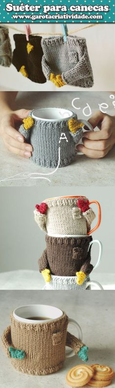 Diy Christmas Mugs Style 21 Best Ideas Knitting Projects, Crochet Projects, Knitting Patterns, Crochet Patterns, Crochet Mug Cozy, Knit Crochet, Crochet Hats, Diy Christmas Mugs, Crochet Accessories