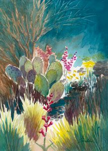 Eye Candy, mixed water media on paper by Ellen A. Fountain.  Also has watercolor lessons.