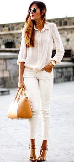 Studded sandals and all white look #style #heels #fashion