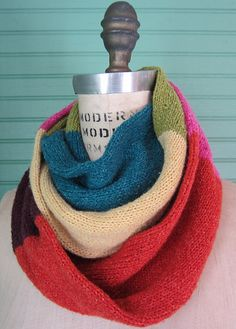 """Color Block Infinity Scarf by Aunt Ninny   A tube approximately 64"""" long x 10"""" around  http://www.ravelry.com/patterns/library/color-block-infinity-scarf"""