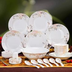 Good quality ceramics dinnerware sets 56 pcs bone china tableware set porcelain tableware Korean style square plates dishes sets | Utensils | Pinterest & Good quality ceramics dinnerware sets 56 pcs bone china tableware ...