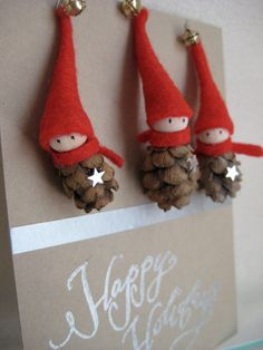 2 Tiny Pine Cone Elves  set of 3 ornaments by kaniko on Etsy, $21.00