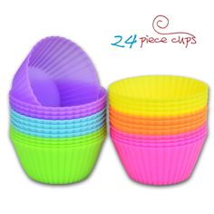 Bigear 24 Pack Set Mini Silicone Baking Cups/Muffin Cup Molds/Silicone Cupcake Liners/Truffle Cups - 6 Color Reusable and Non-stick Molds >> See this awesome image @ : Baking Accessories
