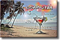 Cosmopolitan Cocktail Recipe Drink Picture on Acrylic , Wall Art Decor, Ready to Hang!