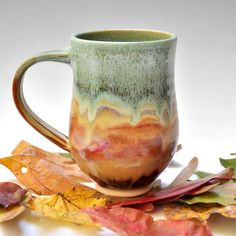 Love the colors! / pottery / ceramics / mugs