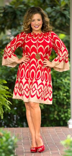 85f347fa034 Tuscan Sunset Dress - Red   Tan - Perfectly Priscilla Boutique  Curvy   Trendy  looksforless  Fashion  FallFashions  Cute  PlusSize   PlusSizeFashion ...