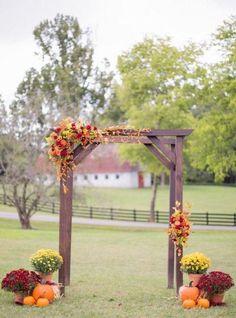 Fall Wedding Arches, Fall Wedding Colors, Arch Wedding, Fall Wedding Mums, Wedding Aisles, Wedding Reception, Diy Wedding Arch Flowers, Fall Wedding Place Settings, Simple Wedding Arch