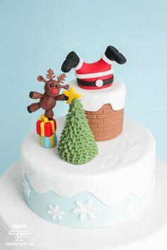 Ho! ho! ho! Eine Torte, die nach Weihnachten schmeckt. Santa Claus steckt im Kamin fest. Mehr Details und das passende Rezept auf meinem Blog unter www.vertortelt.de