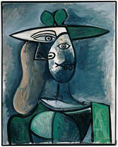 Pablo Picasso, Woman in a Green Hat, 1947 oil on canvas. Albertina, Vienna - Batliner Collection ©️️ Succession Picasso / VBK, Vienna 2011th Photo: ©️️ Photo Studio Heinz Preute, Vaduz