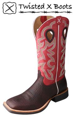 Twisted X Western Boots Mens Ruff Stock Oiled Cognac Red Tall Riding Boots, Combat Boots, Leather Fashion, Leather Men, Red Leather, Cowboy Boots Square Toe, All Weather Boots, Twisted X Boots, Insulated Boots