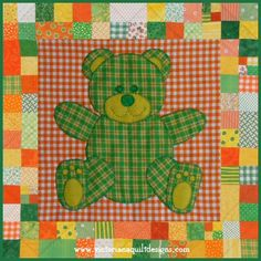 Pet Stuffies Teddy the Bear Baby Quilt Pattern http://www.victorianaquiltdesigns.com/VictorianaQuilters/PatternPage/Stuffies/TeddytheBear.htm #quilting #baby #teddybear