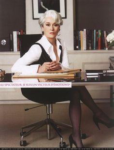 Meryl Streep in The Devil Wears Prada, 2006 Devil Wears Prada, Prada Outfits, Fashion Outfits, Meryl Streep, Boss Lady, Girl Boss, Miranda Priestly, Business Portrait, Business Women