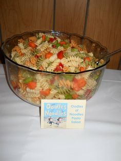 Storybook Theme Baby Shower - Oodles of Noodles Pasta Salad (all the food had storybook related place cards) DIY