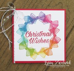 Wishing well organdy bow wreath stampin up rubber stamps cardmaking DIY cards handmade - VIDEO TUTORIAL Diy Cards, Christmas Cards, Simple Christmas, Holiday Cards, Wish You Well, Wishing Well, Rainbow Card, Handmade Birthday Cards, Handmade Cards