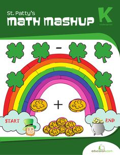 Do some #StPatricksDay #math with this #kindergarten #workbook! Kids will count gold coins, add up rainbows, and even do a coin toss.