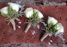 White Spray Rose Boutonnieres with Dusty Miller and Seeded Euc