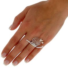 Snail ring, handmade sterling silver ring with pearls, silver fashion ring for girls, cute rings for women, large spiral ring for sale