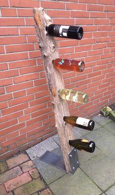 Log Wood Projects, Wine Tree, Wine Stand, Shelving Design, Cafe Interior Design, Wine And Liquor, Wine Bottle Holders, Wine Storage, Metal Furniture