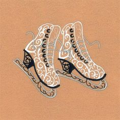 Starbird Inc Embroidery Design: Filigree Ice Skates 3.59 inches H x 4.41 inches W