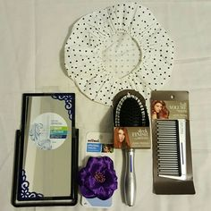John Frieda Brush & Comb set w Mirror & Accesories All items  NWT and in packaging. Including John Frieda Sleek Finish paddle brush and John Frieda Full volume comb. Deep purple hair clip, Conair vanity mirror measuring 9.5h x 5w. And I'm also throwing in a new black and white polka dot shower cap! These are all great items for a most any hair type! Feel free to make offers!!! John Frieda  Makeup