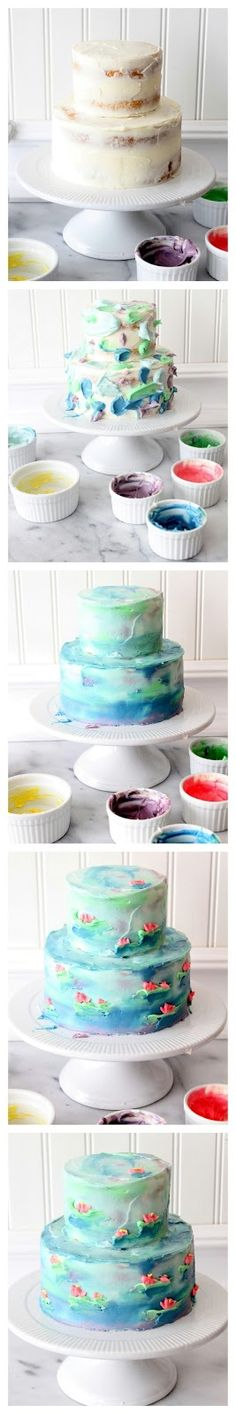 Watercolor cakes are as easy as can be! If you can blob on frosting, you can make watercolor cakes! Cake Decorating Books, Birthday Cake Decorating, Cake Decorating For Beginners, Cake Decorating Tutorials, Decorating Ideas, Watercolor Cake, Dessert Decoration, Decorations, Painted Cakes
