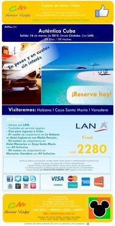 #AlCaribeConAlmar l Auténtica Cuba l ¡Mejor financiación! Salida: 16 de marzo de 2015. Desde Córdoba. Con LAN.  Visitaremos: La Habana l Varadero l Cayo Santa María.   [Sitio web de contacto]: > http://almarviajes.com.ar/Contact <  Equipo de Almar Viajes, Amigos de Viajes.  EVyT - LEG 15220 - RESO 1040 / 2012