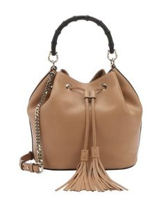 Gucci : camelia leather 'Miss Bamboo' bamboo bucket bag
