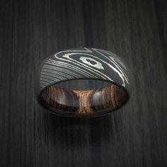 Damascus Steel Ring with Heritage Brown Hardwood Interior Sleeve Custom Made - Revolution Jewelry  - 2
