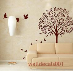 Vinyl Wall Decals Wall Stickers Tree with Birds by walldecals001, $52.00