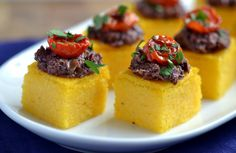 Polenta-Olive Tapenade Bites | Save recipes from anywhere on your iPhone or iPad with @RecipeTin – without typing them in! Find out more here: www.recipetinapp.com #recipes #vegan