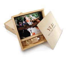 Wood Slide Box for Flash Drive & 100 5x7 Prints