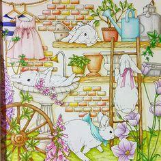 ✲幸せのメヌエット塗っています✲  一番楽しみなウサギちゃんだけ残して あと少しの所まできました〜♪ #幸せのメヌエット#江種鹿乃子 #大人の塗り絵…