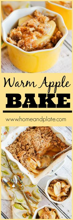 Warm Apple Bake | www.homeandplate.com | Warm apple bake with a cinnamon and brown sugar topping is the perfect dessert for kids and adults alike.