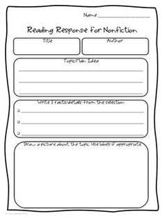 Freebie! These reading responses can be used for many nonfiction selections such as magazine articles, online articles, newspaper articles, nonfiction basal selections, science/social studies textbooks, short nonfiction books, weekly classroom magazines, and more!