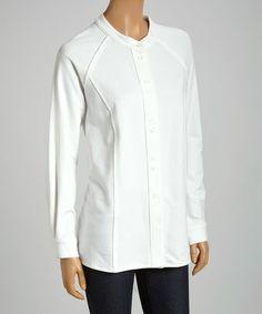 White Raglan Button-Up by Focus #zulily #zulilyfinds